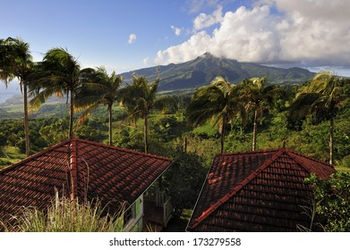 MARTINIQUE - MARCH 13: Mt. Pelee, active volcanic mountain, which is famous for its eruption in 1902, the worst volcanic disaster in 20th century, Martinique, Caribbean Sea