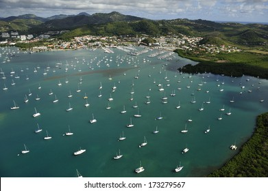 MARTINIQUE - MARCH 8:  The aerial view of Le Marin, island's main yacht harbor with hundreds of boats, Martinique, Caribbean Sea