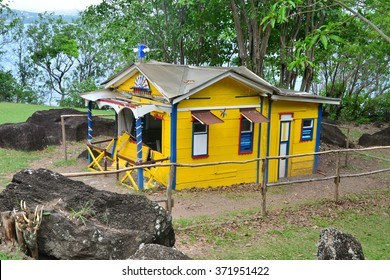 Martinique, the picturesque convict house in the city of Le Diamant in West Indies