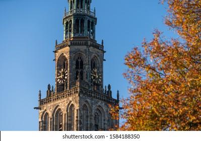Martinitoren in Groningen during an autumn morning.