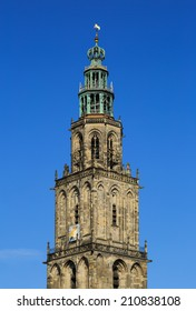 Martini-tower (Martinitoren) in Groningen with a blue sky on a nice summers day.