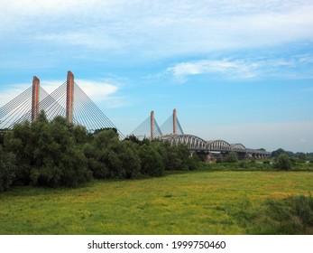 Martinus Nijhoff bridge over the river Waal, Zaltbommel,  Netherlands