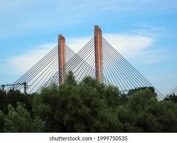 The Martinus Nijhoff bridge over the river Waal, Zaltbommel,  Netherlands