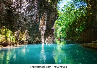 Martvili Canyon In Georgia Beautiful Natural With View Of The Mountain River Christal