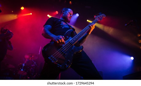 Martyn Millard bassist from Orange Goblin, live at o2 ritz manchester uk, 30th october 2018