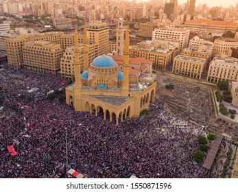 Martyrs' Square during the Lebanese Revolution, against the current government, and against corruptions in the country