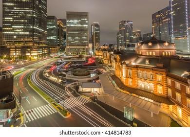 Marunouchi business district and Tokyo railway Station in Tokyo, Japan