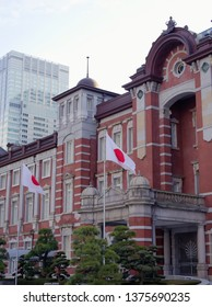 MARUNOUCHI, TOKYO / JAPAN – FEBRUARY 27, 2019: A view for the central portion of Tokyo station Marunouchi building early in the morning.