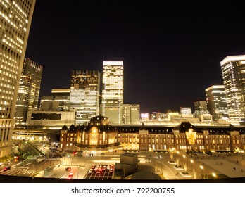 MARUNOUCHI, TOKYO / JAPAN – January 4, 2018: Tokyo Station on the early evening in January.