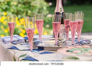 Marupe, Latvia - August 11, 2017: Glasses of pink sparkling wine at a bachelorette party