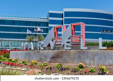 Marvell Technology Group logo and sign near Silicon Valley headquarters of semiconductor manufacturing company headquartered in Hamilton, Bermuda - Santa Clara, California, USA - May 11, 2019