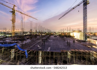 Marvelous Colorful Twilight of a New Hospital Building being constructed with big cranes at Chonburi Hospital, Chonburi Province, Thailand