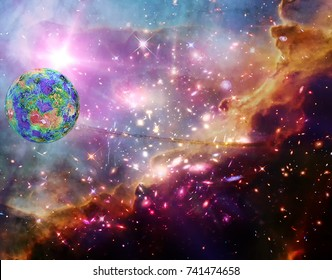 Marvelous galaxy and exo planet  in a deep space. The elements of this image furnished by NASA.