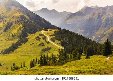 Marvelous landscape of Schladming Dachstein region with high mountains, Krahbergzinken in the foreground, Zwerfenberg and Hochgolling in the background, Austria