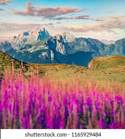 Marvelous morning view of Col di Lana mountain range from Giau pass. Picturesque summer scene of Dolomiti Alps, Cortina d'Ampezzo region, Province of Belluno, Italy, Europe.