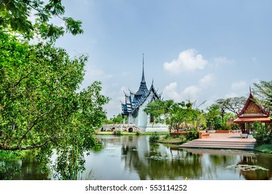 marvelous scenery view traditional Thailand architecture on background beautiful tropical nature