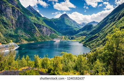 Marvelous summer scene of Geiranger port, western Norway. Spectacular morning view of Sunnylvsfjorden fjord. Traveling concept background.