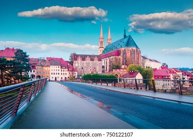 Marvelous sunrise view of St Peter and Paulâ??s Church, on the Polish border. Colorful autumn cityscape of Gorlitz, eastern Germany, Europe. Traveling concept background.