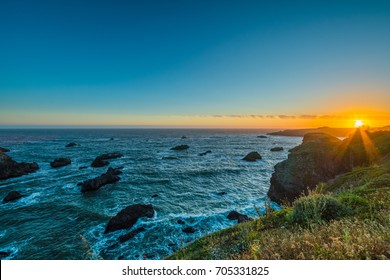 Marvelous sunset, amazing evening sky. Sonoma Coast State Park, California, USA