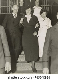 Mary Creighton , leaving Nassau County jail for Sing Sing Prison, Jan. 20, 1936. On July 16, 1936, she was executed, along with her accomplice, Everett Applegate, for the poison murder of Ada Applegat