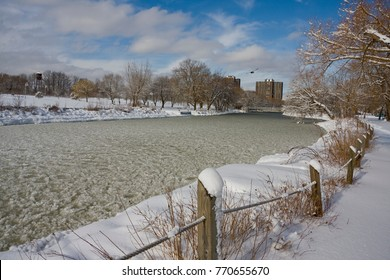 The Mary Curtis Park in the winter time.  It is on the shore line of Lake Ontario in Mississauga, Ontario, Canada.