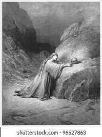 Mary Magdalene Repentant - Picture from The Holy Scriptures, Old and New Testaments books collection published in 1885, Stuttgart-Germany. Drawings by Gustave Dore.