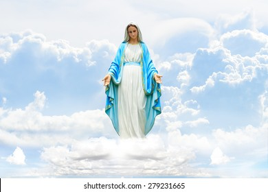 Mary on Cloud and sky