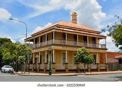 Maryborough, Queensland, Australia - December 21, 2017. Exterior view of Maryborough Heritage Centre in Maryborough, QLD, with vegetation and car.