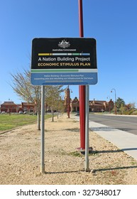 "MARYBOROUGH, VICTORIA, AUSTRALIA - September 11, 2015: The Railway Station Domain was redeveloped as part of the ""Nation Building-Economic Stimulus Plan"" implemented by the Australian Government"