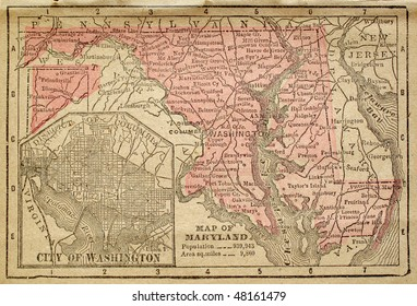 Maryland, circa 1880. See the entire map collection: http://www.shutterstock.com/sets/22217-maps.html?rid=70583