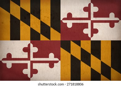 Maryland flag on fabric texture,retro vintage style