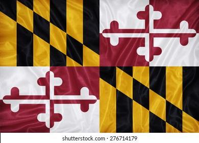 Maryland flag on fabric texture,retro vintage style