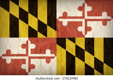 Maryland flag on paper texture,retro vintage style