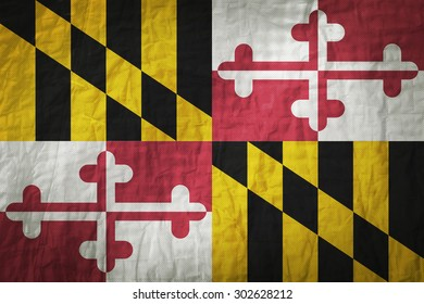 Maryland flag painted on a Fabric creases,retro vintage style