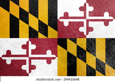 Maryland Flag painted on leather texture,vintage style