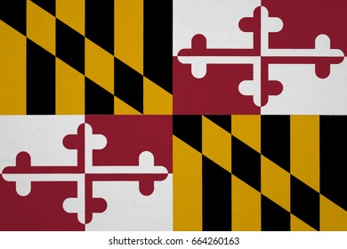 Maryland flag, USA with fabric texture