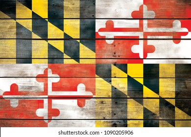 Maryland Flag Wood