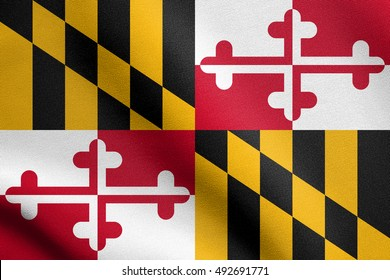 Maryland official flag, symbol. American patriotic element. USA banner. United States of America background. Flag of the US state of Maryland waving in the wind with detailed fabric texture