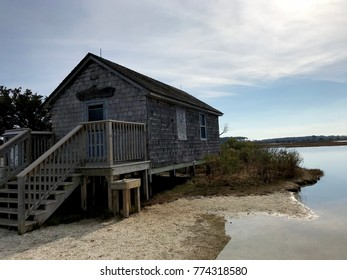 Maryland seascape with building on Assateague Island