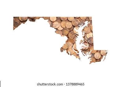 Maryland State Map and Money Concept, Piles of Coins, Pennies