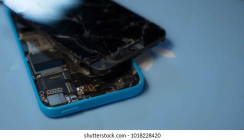 Maryland, United States of America - February 5, 2018 : Broken smartphone