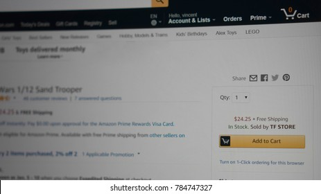 Maryland, United States of America - Jan 1 : Amazon.com add to cart button, from Amazon on Jan 1 2018 in Maryland, United States of America
