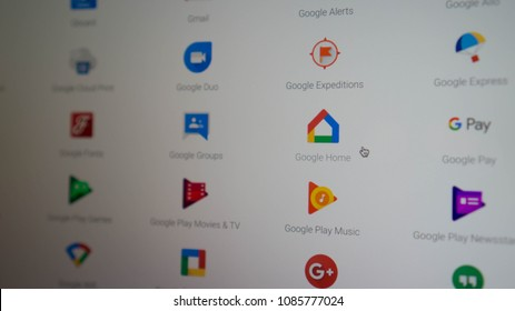Maryland, United States of America - May 7, 2018: Google Home - Right