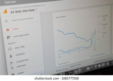 Maryland, United States of America - May 7, 2018: Google Analytics - Front Analytics - Side
