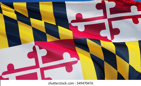 Maryland (U.S. state) flag waving against clear blue sky, close up, isolated with clipping path mask alpha channel transparency, perfect for film, news, composition