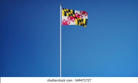 Maryland (U.S. state) flag waving against clear blue sky, long shot, isolated with clipping path mask alpha channel transparency, perfect for film, news, composition