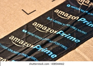 MARYLAND, USA - Amazon Prime boxes with the Amazon Prime tape placed across the package to keep it sealed. Amazon is the largest internet based retailer in the United States.
