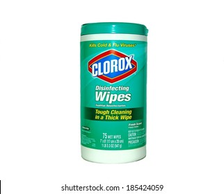 MARYLAND, USA - APRIL 3, 2014: Image of a Clorox wipe canister.