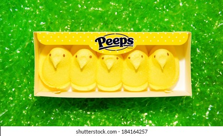 MARYLAND, USA - MARCH 27, 2014:  Image of Peeps Marshmallow Chicks.  Peeps are a popular Easter candy in the US and Canada.