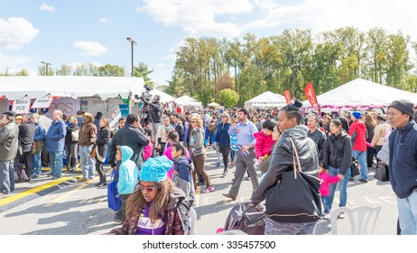 Maryland, USA - Oct.18,2015: Group of people at the 7th Annual World of Montgomery 2015 Festival.
